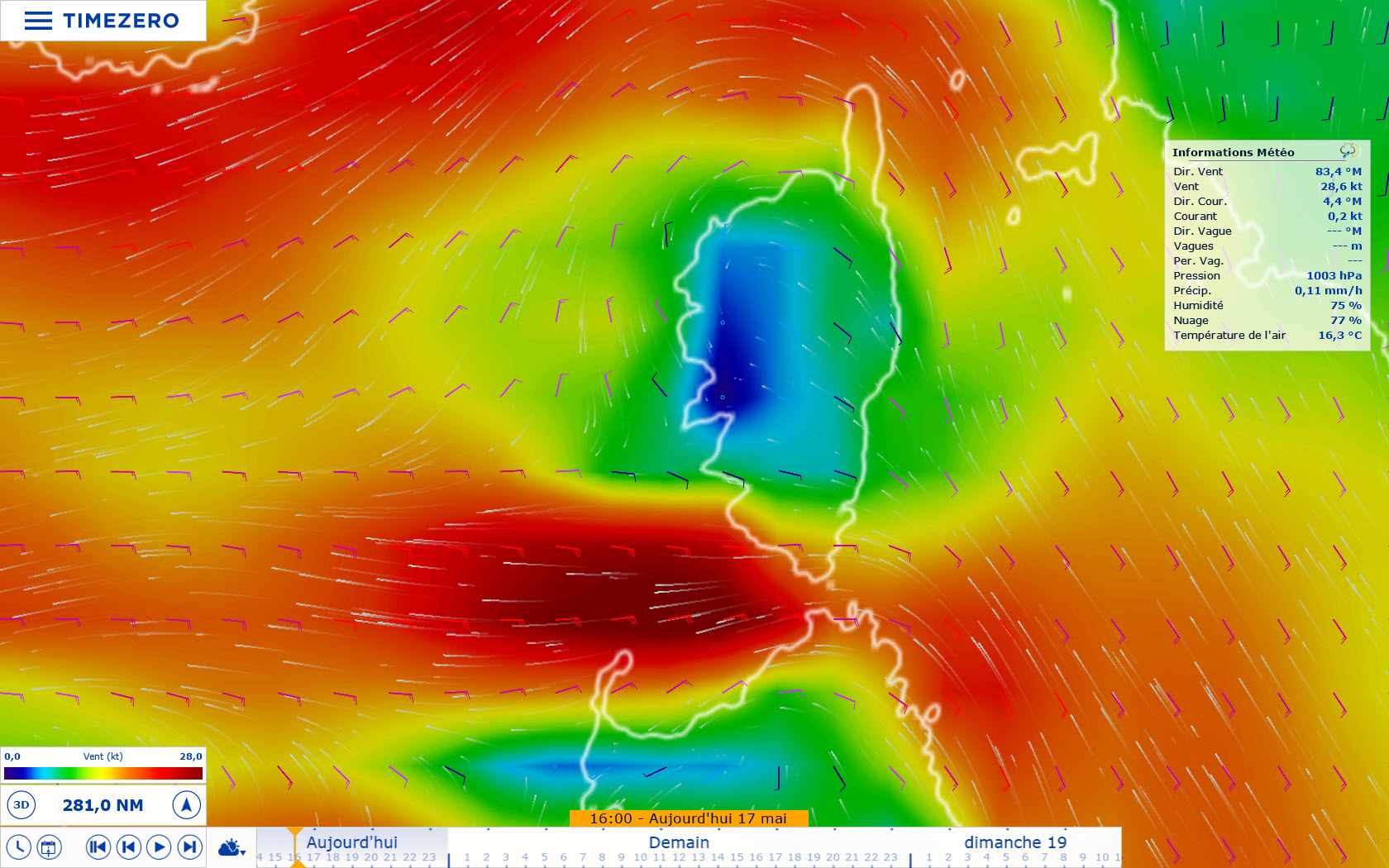 GFS WIND (Couleur, Particules, Barbules)